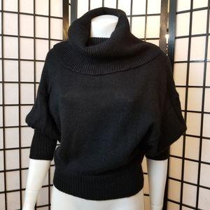 Angora knit cowl neck puff sleeve sweater